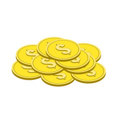 Gold coins symbol flat isometric icon or logo 3d vector