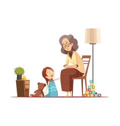 Grandmother with child retro cartoon vector