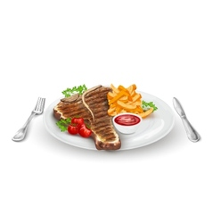 Grilled Steak On Plate vector