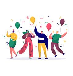 Group of joyful people celebrating birthday party vector