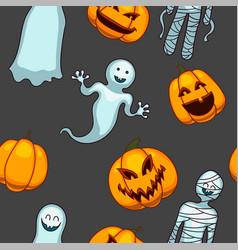 halloween seamless pattern funny pumpkins vector image
