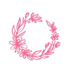 hand drawn flower wreath floral design vector image
