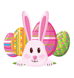 happy easter rabbit eggs vector image