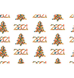 happy new year 2021 seamless pattern pixel art vector image