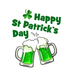 Happy saint patrick day greeting card with text vector