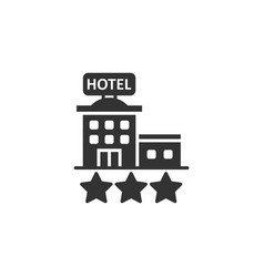 Hotel 3 stars sign icon in flat style inn vector