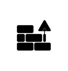 Icons brickwork and building trowel black vector