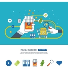Internet and mobile marketing Online shopping vector image