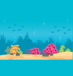 Landscape of sea with reef and fish silhouette vector