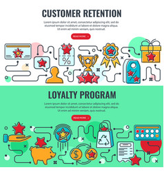Loyalty program customer retention banners vector