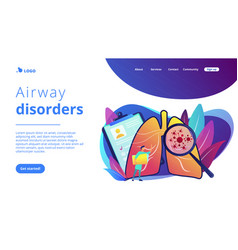 Lung cancer concept landing page vector