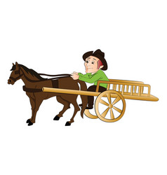 Man traveling in a horse drawn cart vector