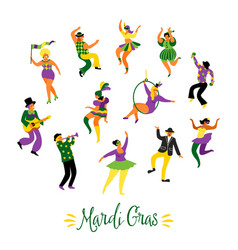 Mardi gras of funny dancing vector