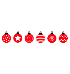 merry christmas ball set line cute round red and vector image