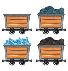 Mining carts loaded with stones and diamond vector