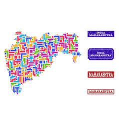 Mosaic map of maharashtra state and distress seals vector