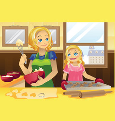 mother daughter baking cookies vector image