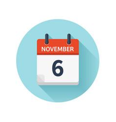 November 6 flat daily calendar icon date vector