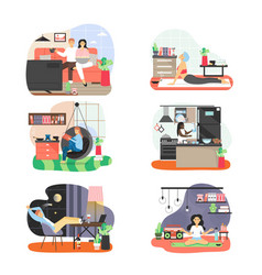people spending free time at home flat vector image