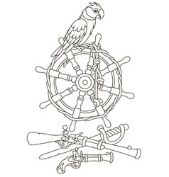 Pirate parrot on an old ship steering-wheel vector