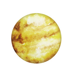 planet venus isolated yellow watercolor stain vector image