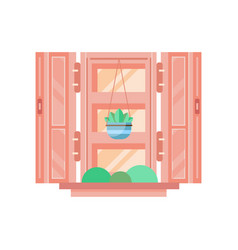 Retro window with wooden shutters architectural vector