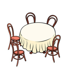 round dining table and chairs around vector image