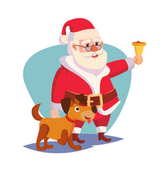santa claus and happy dog ringing gold vector image