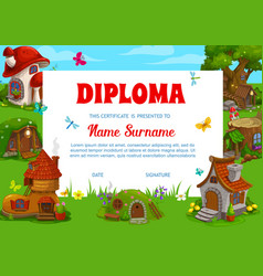 school diploma template with fantasy buildings vector image