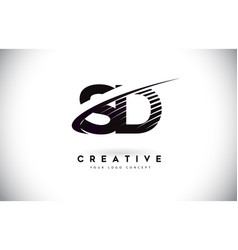 Sd s d letter logo design with swoosh and black vector