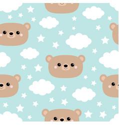 seamless pattern bear face cloud in sky cute vector image