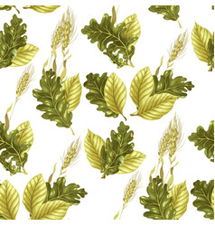 seamless pattern with leaves and rye vector image