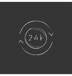 Service 24 hrs Drawn in chalk icon vector