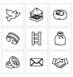 set dovecote icons pigeon feeders nest vector image