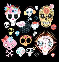 set funny skulls vector image