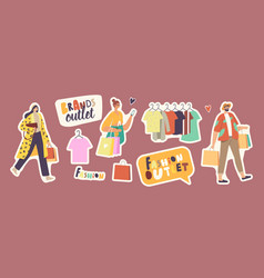 set stickers people in fashion brands outlet vector image