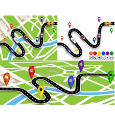 Set winding roads with signs on map the vector