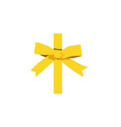 Shiny golden satin ribbon on white background vector