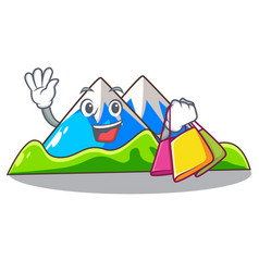 Shopping miniature mountain in the character form vector