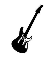 silhouette electric guitar bass vector image
