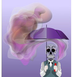 Skull holding an umbrella vector