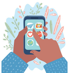 smartphone in human hands vector image