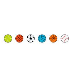 sport ball icons balls forfootball baseball vector image