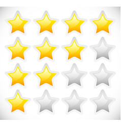 star rating template with rounded bright stars vector image