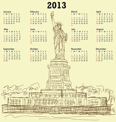 statue of liberty vintage 2013 calendar vector image