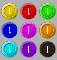 sword icon sign symbol on nine round colourful vector image