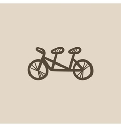 Tandem bike sketch icon vector image