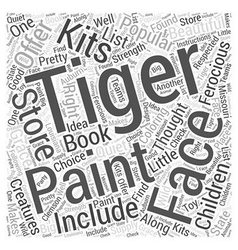 Tiger face painting word cloud concept vector