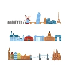 Travel places set vector