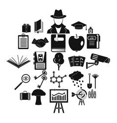 university education icons set simple style vector image